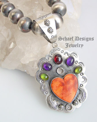 Orange Spiny Oyster Shell Gemstone & Sterling Silver Heart Pendant| Native American, turquoise, & southwestern Jewelry | Schaef Designs Jewelry | New Mexico