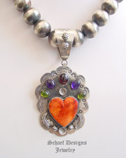 Orange Spiny Oyster Shell Heart Gemstone Sterling Silver Pendant | Schaef Designs |New Mexico