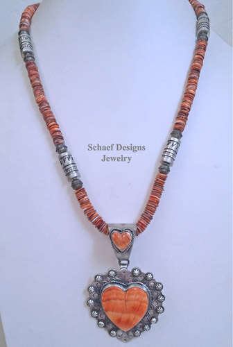 Schaef Designs Orange Spiny Oyster & sterling silver heart pendant | Native American turquoise jewelry | New Mexico