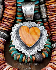 Schaef Designs Orange Spiny Oyster & Sterling Silver Heart Pendant | Southwestern & turquoise Jewelry | New Mexico