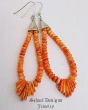 Native American Orange Spiny Oyster Shell Jacla WIRE Earrings | Schaef Designs | New Mexico