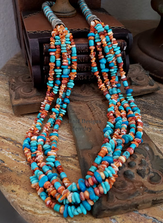 Schaef Designs Orange Spiny Turquoise & Sterling Silver Navajo Pearl Saucer Bead 5 Strand Long Multi Necklace | New Mexico