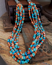 Schaef Designs Orange Spiny Oyster & Blue Turquoise Multi Strand Long Necklace | New Mexico