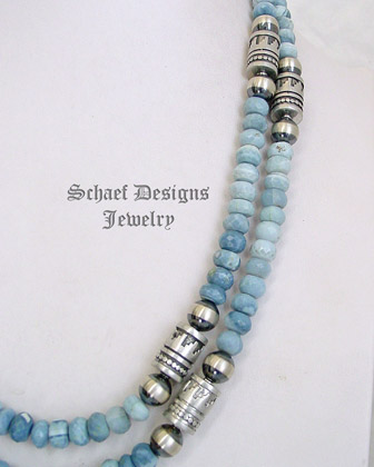 Schaef Designs Owyhee Opal & Sterling Silver Southwestern Basics Tube Bead Necklace Set | New Mexico
