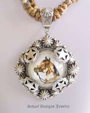 Schaef Designs Paint Horse Bridle Rosette & Sterling silver pendant   | New Mexico