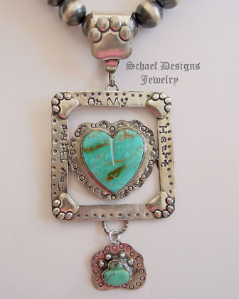 Schaef Designs Turquoise & Sterling Silver Paw Prints on my Heart Pendant | Bobby Schaefer Designs | All rights reserved Copyright | Pet Lovers Jewelry | New Mexico