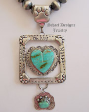 Schaef Designs Turquoise & Sterling Silver Paw Prints on my Heart Pendant | All Rights Reserved Schaef Designs Copyright | New Mexico
