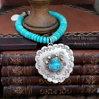Schaef Designs Pawprints on My Heart Turquoise & Sterling Silver Stretch Bracelet | New Mexico