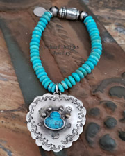 Schaef Designs Pawprints on My Heart Turquoise & Sterling Silver Navajo Pearl Stretch Bracelet | New Mexico