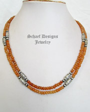 Schaef Designs peach carneilian & Sterling Silver Tube Bead Necklaces | New Mexico