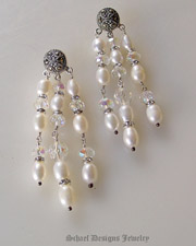 Schaef Designs Marcasite pearl chandelier post earrings | New Mexico