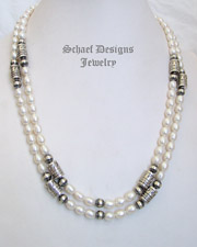 Schaef Designs White Fresh Water Pearl & Sterling Silver Tube Bead Necklace Set | New Mexico