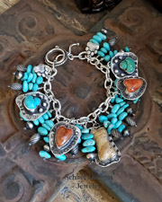 Schaef Designs Apple Coral, Turquoise, & Sterling Silver Charm Bracelet | Pet Lovers Jewelry | All Rights Reserved Schaef Designs Copyright | Schaef Designs artisan handcrafted Jewelry | Arizona