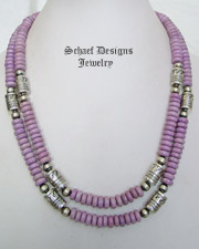 Schaef Designs Off White Agate & Sterling Silver Southwestern Basics Tube Bead Necklaces | New Mexico