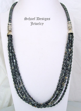 Schaef Designs Picasso Jasper & Sterling Silver Long Multi Strand Southwestern Necklace | New Mexico