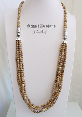 Schaef Designs Picture jasper & sterling silver 5 strand southwestern necklace | New Mexico