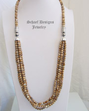 Schaef Designs multi 5 strand picture jasper & sterling silver Necklace | New Mexico