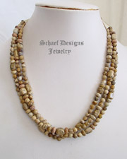 Schaef Designs Picture jasper Sterling silver 3 strand adjustable necklace | New Mexico