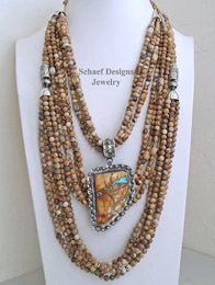 Schaef Designs picture jasper & sterling silver necklace pairings with Large Boulder Ribbon Turqouise Pendant | New Mexico