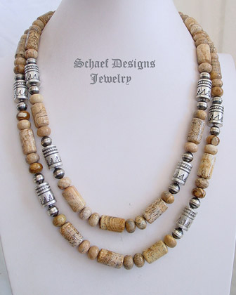 Schaef Designs Picture jasper & sterling silver Kiva tube bead southwestern necklaces | New Mexico