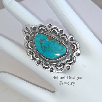 Schaef Designs Pilot Mountain turquoise & stamped sterling silver adjustable Southwestern Ring | Arizona