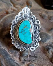 Schaef Designs Pilot Mountain Turquoise & Stamped Sterling Silver Southwestern Adjustable Ring | New Mexico
