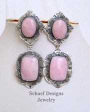 Schaef Designs Peruvian Pink Opal & Sterling Silver Earrings POSTS | New Mexico