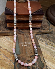 Schaef Designs Long Pink Peruvian Opal & Sterling Silver Tube Bead Necklace| New Mexico