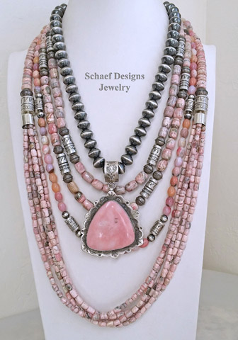 Schaef Designs Pink Opal Rhodochrosite & Sterling Silver necklace pairing | Southwestern Basics | New Mexico