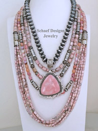 Schaef Designs Pink Peruvian Opal Rhodochrosite & Sterling Silver necklace Pairings | New Mexico