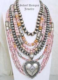 Schaef Designs Pink Opal Rhodochrosite & Sterling Silver Necklace Pairings | New Mexico