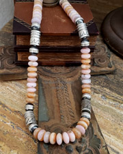 Schaef Designs High end pink peruvian opal & Sterling Silver Tube Bead Necklace set| New Mexico