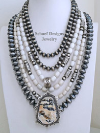 Schaef Designs Turquoise Nugget Orange Spiny Oyster & Sterling Silver Navajo Pearls Necklace Pairings