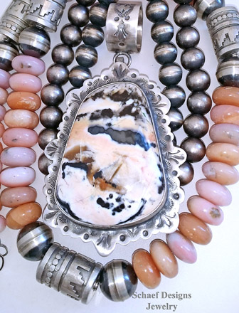 Schaef Designs LARGE Pink Tiffany Stone & Stamped Sterling Silver Southwestern Pendant | New Mexico