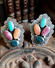 Platero Spiny Oyster shell & turquoise clip Earrings | Schaef Designs | New Mexico