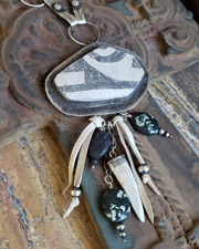 Schaef Designs Pottery Shard Antler Deer Skin & Sterling Silver Pendant | New Mexico