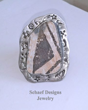 Schaef Designs Anasazi Pottery Shard & Sterling Silver Adjustable Ring | New Mexico