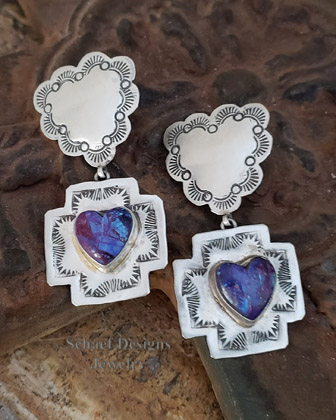 Schaef Designs Purple Turquoise Heart Charm on Sterling Silver Reversible Heart Crosspath Earrings | Upscale Native American Southwestern & Equine online Jewerly Gallery | Schaef Designs artisan handcrafted jewelry |New Mexico