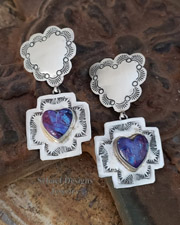 Schaef Designs Purple Turquoise Heart Charm on Sterling Silver Reversible Heart Crosspath Earrings |New Mexico