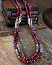 Schaef Designs Purple & Red Sterling Silver Tube Bead Necklace Set | New Mexico