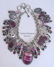 Schaef Designs Purple Spiny Oyster & Sterling Silver Southwestern Charm Bracelet Necklace | New Mexico