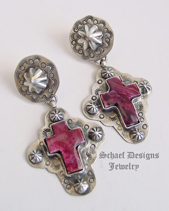 Schaef Designs purple spiny oyster cross earrings | Schaef Designs turquoise Jewelry | New Mexico