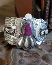 Purple Spiny Oyster Shell & Sterling Silver Thunderbird Native American Cuff Bracelet | New Mexico