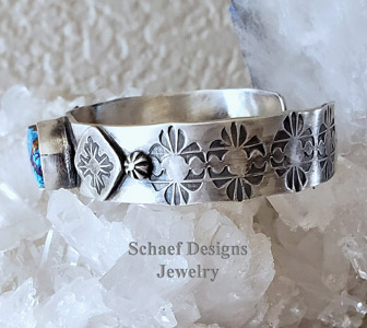 Schaef Designs Boho Stackable Southwestern Purple Turquoise & Stamped Sterling Silver Bracelets | Arizona