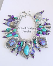 Schaef Designs Purple Turquoise, Turquoise & Sterling Silver Southwestern Charm Bracelet| New Mexico
