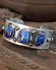 Schaef Designs Mojave Purple Turquoise & Sterling Silver Southwestern Stacking Cuff Bracelett | New Mexico