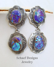 Schaef Designs Purple Turquoise Hand Stamped Sterling Silver POST Earrings | New Mexico