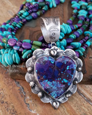 Schaef Designs Purple Turquoise Large Southwestern Heart Pendant | New Mexico