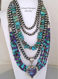 Schaef Designs Turquoise Nugget Purple Turquoise Amethyst & Sterling Silver Navajo Pearls Necklace Pairings