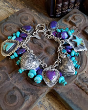 Schaef Designs Purple Turquoise Vincent Platero Hearts & Turquoise & Sterling Silver Southwestern Charm Bracelet | New Mexico